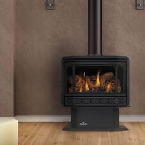propane fireplace next to bookshelf